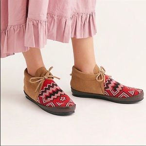 Figue x Free People Red Combo beaded moccasins
